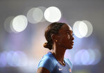 Dalilah Muhammad, of the United States prepares to race in a women's 400 meter hurdles semifinal at the World Athletics Championships in Doha, Qatar, Wednesday, Oct. 2, 2019. (AP Photo/Petr David Josek)