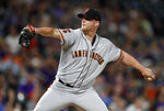 San Francisco Giants relief pitcher Will Smith works against the Colorado Rockies during the ninth inning of a baseball game Saturday, Aug. 3, 2019, in Denver. The Giants won 6-5. (AP Photo/David Zalubowski)