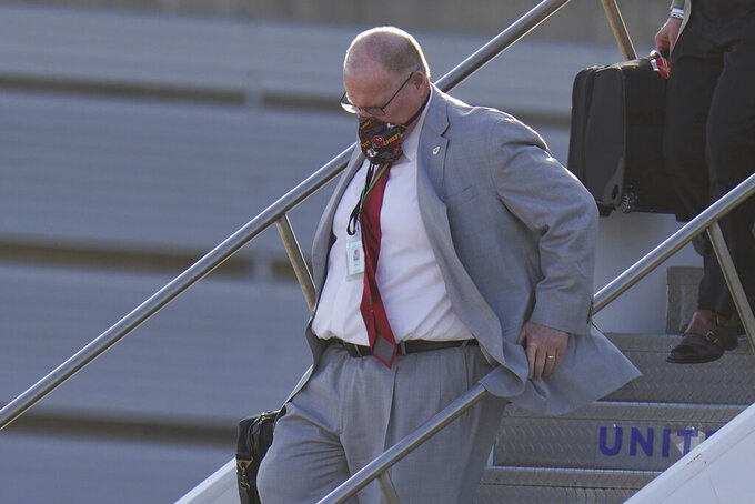 Kansas City Chiefs head coach Andy Reid arrives for the NFL Super Bowl 55 football game against the Tampa Bay Buccaneers, Saturday, Feb. 6, 2021, in Tampa, Fla. (AP Photo/Chris O'Meara)