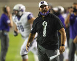 Central Arkansas coach Nathan Brown yells at an official during the team's NCAA college football game against Austin Peay on Saturday, Aug. 29, 2020, in Montgomery, Ala. (Jake Crandall/The Montgomery Advertiser via AP)
