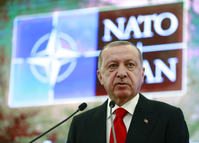 Turkey's President Recep Tayyip Erdogan addresses a meeting of the NATO's Mediterranean Dialogue, in Ankara, Turkey, Monday, May 6, 2019. Erdogan says Turkey's decision to purchase Russian-made S-400 missile defense systems does not mean that it is seeking