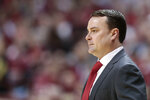 Indiana head coach Archie Miller watchs his team play Wichita State in the first half of an NCAA college basketball game in the third round of the NIT tournament in Bloomington, Ind., Tuesday, March 26, 2019. Wichita State won 73-63. (AP Photo/AJ Mast)