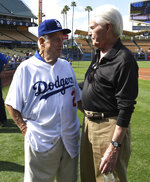 Hall of Fame and former Los Angeles Dodgers manager Tommy Lasorda passed away at the age of 93. Former LosAngeles Dodgers manager Tommy Lasorda, left, with former General Manager Fred Clair during the Old Timers game prior to a Major League baseball game between the Cincinnati Reds and the Los Angeles Dodgers at Dodger Stadium on Saturday, June 10, 2017 in Los Angeles. (Keith Birmingham/The Orange County Register via AP)
