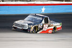 Christian Eckes comes out of Turn 4 during the NASCAR trucks race at Texas Motor Speedway in Fort Worth, Texas, Saturday, July 18, 2020. (AP Photo/Ray Carlin)