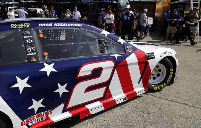 Brad Keselowski drives to the track during a practice for the NASCAR Sprint Cup Series auto race at Chicagoland Speedway in Joliet, Ill., Saturday, June 29, 2018. (AP Photo/Nam Y. Huh)