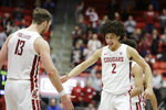 Washington State forward CJ Elleby (2) celebrates his go-ahead basket with forward Jeff Pollard (13) during the second half of the team's NCAA college basketball game against Arizona State in Pullman, Wash., Wednesday, Jan. 29, 2020. (AP Photo/Young Kwak)