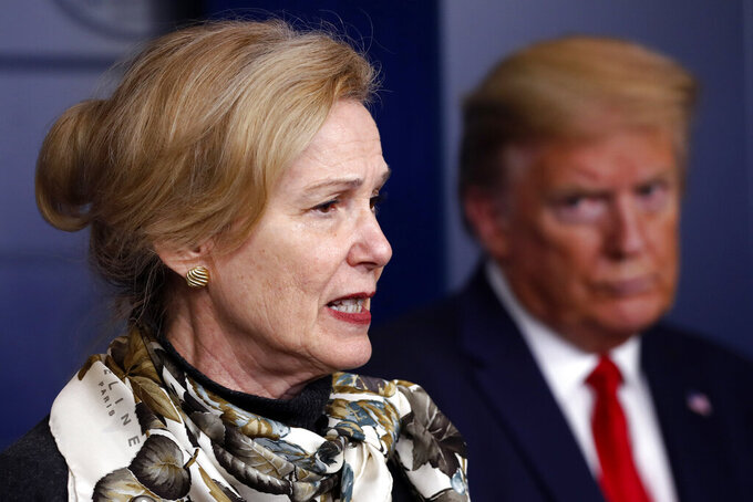 FILE - In this April 22, 2020, file photo, President Donald Trump listens as Dr. Deborah Birx, White House coronavirus response coordinator, speaks about the coronavirus in the James Brady Press Briefing Room of the White House in Washington. Birx was brought into President Donald Trump's orbit to help fight the coronavirus, she had a sterling reputation as a globally recognized AIDS researcher and a rare Obama administration holdover. Less than 10 months later, her reputation is frayed and her future in President-elect Joe Biden's administration uncertain. (AP Photo/Alex Brandon, File)