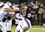 FILE- In this Sept. 1, 2018, file photo, Mississippi State defensive tackle Jeffery Simmons (94) pushes through a double team during the first half of an NCAA college football game against Stephen F. Austin in Starkville, Miss. Simmons is a possible pick in the 2019 NFL Draft. (AP Photo/Rogelio V. Solis, File)