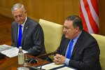 New Delhi: US Secretary of State Mike Pompeo (R) and US Secretary of Defense James Mattis during a joint press conference following the India-US 2 + 2 Dialogue, in New Delhi, Thursday, Sept 6, 2018. (PTI Photo/Subhav Shukla) (PTI9_6_2018_000168A)