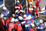 Ryan Newman is removed from his race car after crashing during the NASCAR Daytona 500 auto race at Daytona International Speedway, Monday, Feb. 17, 2020, in Daytona Beach, Fla. (AP Photo/David Graham)