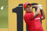 Angelo Que of Philippines tees off the 16th hole during the Malaysia Golf Championship Round One in Kuala Lumpur, Malaysia, Thursday, March 21, 2019. (AP Photo/Vincent Phoon)