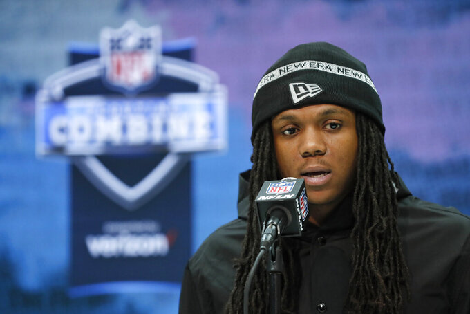 FILE - In this Feb. 26, 2020, file photo, Maryland running back Anthony McFarland speaks during a press conference at the NFL football scouting combine in Indianapolis. Steelers rookie running back Anthony McFarland is doing Zoom meetings with coaches then heading outside to see if he's lining up in the right spots. Yeah, it's weird, but he and his fellow rookies are making due. (AP Photo/Charlie Neibergall, File)