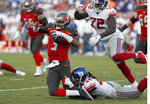 Tampa Bay Buccaneers quarterback Jameis Winston (3) gets taken down by New York Giants linebacker Markus Golden (44) during the second half of an NFL football game Sunday, Sept. 22, 2019, in Tampa, Fla. (AP Photo/Mark LoMoglio)
