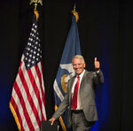 U.S. Rep. Ralph Abraham  greets the crowd during the Louisiana GOP Unity Rally in Kenner, La., Saturday, Oct. 5, 2019. Republicans are trying to keep  Gov. John Bel Edwards, the Deep South's only Democratic governor, from topping 50% of the vote and gaining outright victory in the Oct. 12 primary. In Louisiana, candidates run on the same ballot regardless of party. (Sophia Germer/The Advocate via AP)