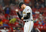 Pittsburgh Pirates starting pitcher Joe Musgrove pauses on the mound after giving up a single to St. Louis Cardinals' Tyler O'Neill during the third inning of a baseball game Monday, July 15, 2019, in St. Louis. (AP Photo/Jeff Roberson)