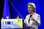 European Commission President Ursula meets the media during a joint news conference with Italian Premier Mario Draghi, at the Cinecitta' studios in Rome, Tuesday, June 22, 2021. (AP Photo/Andrew Medichini)