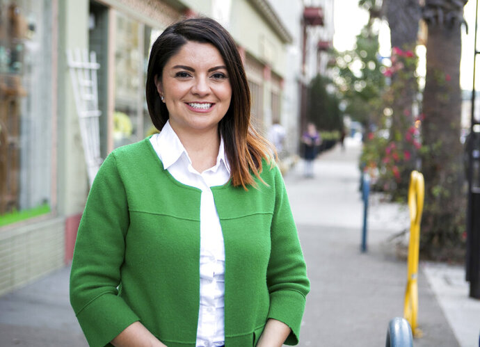 This undated photo provided by the Gonzalez for State Senate campaign shows Long Beach, Calif., City Councilmember Lena Gonzalez. Voters in two California legislative districts are picking new senators to fill vacancies created by last fall's election. The special elections Tuesday, March 26, 2019 aim to fill the seats formerly held by Democrat Ricardo Lara, who was elected insurance commissioner, and Republican Ted Gaines, who won a seat on the Board of Equalization. Gonzalez is one of a dozen hopefuls who want to follow Lara in representing southeast Los Angeles County. (Gonzalez for State Senate via AP)