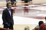 Kentucky head coach John Calipari looks on as his team falls behind against Alabama during the second half of an NCAA college basketball game, Tuesday, Jan. 26, 2021, in Tuscaloosa, Ala. (AP Photo/Vasha Hunt)