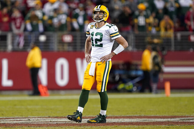 Green Bay Packers quarterback Aaron Rodgers (12) reacts during the second half of an NFL football game against the San Francisco 49ers in Santa Clara, Calif., Sunday, Nov. 24, 2019. (AP Photo/Tony Avelar)