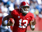 Alabama quarterback Tua Tagovailoa (13) carries the ball during the first half of an NCAA college football game against Citadel, Saturday, Nov. 17, 2018, in Tuscaloosa, Ala. Tagovailoa was named to the 2018 AP All-America NCAA college football second-team, Monday, Dec. 10, 2018. (AP Photo/Butch Dill, File)