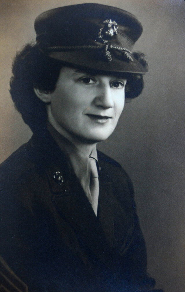 This photo provided by Beth Kluttz shows Dorothy Schmidt Cole in 1945. Dorothy Schmidt Cole, recognized last year as the oldest living U.S. Marine, has died at age 107. The Marine Times says Dorothy Schmidt Cole died of a heart attack at her daughter's home in Kannapolis on Jan. 7, 2021. (Courtesy of Beth Kluttz via AP)