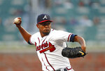 Atlanta Braves starting pitcher Julio Teheran (49) works in the first inning of a baseball game against the Philadelphia Phillies Monday, April 16, 2018, in Atlanta. (AP Photo/John Bazemore)