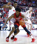 Southeast Missouri State's Sage Tolbert, right, tries to drive to the basket as Ohio State's Alonzo Gaffney defends during the first half of an NCAA college basketball game Tuesday, Dec. 17, 2019, in Columbus, Ohio. (AP Photo/Jay LaPrete)