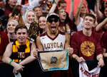 FILE - In this March 31, 2018, file photo, Loyola-Chicago fans cheer at the Final Four of the NCAA college basketball tournament in San Antonio. NCAA President Mark Emmert says NCAA Division I basketball tournament games will be played without fans in the arenas because of concerns about the spread of coronavirus. (AP Photo/Eric Gay, File)