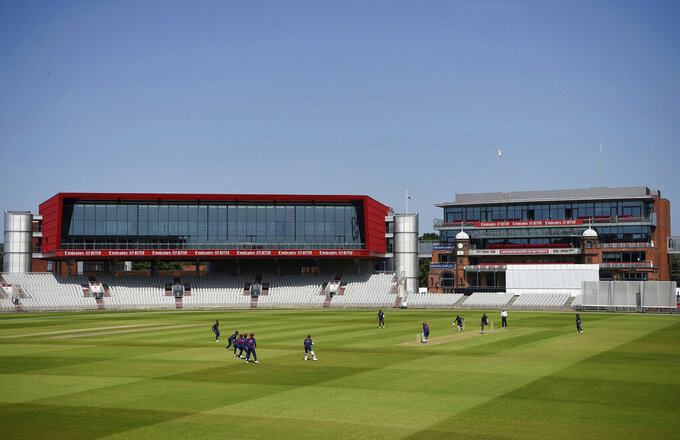 A general view of play during day two of a West Indies Warm Up match at Old Trafford in Manchester, England, Wednesday June 24, 2020. Top-level cricket is being played for the first time in the world since the March coronavirus lockdown, as West Indies began their intra-squad warm-up match at Old Trafford. (Gareth Copley/Pool via AP)