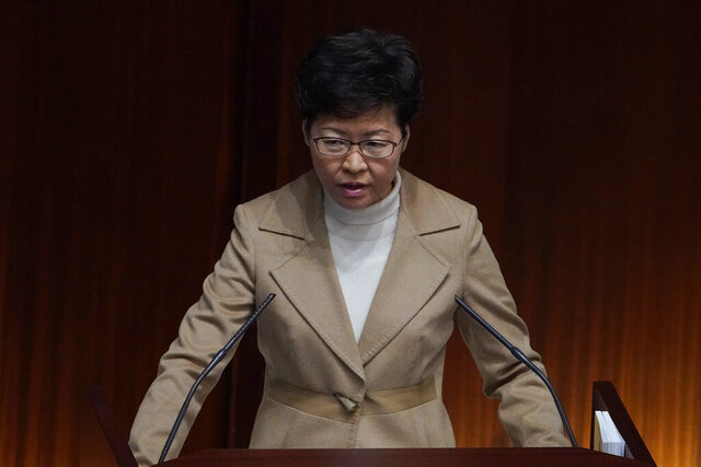 Hong Kong Chief Executive Carrie Lam speaks during a question and answer session at the Legislative Council in Hong Kong Jan. 16, 2020. (AP Photo/Vincent Yu)