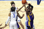 LSU's Ja'Vonte Smart (1) shoots while defended by Kentucky's B.J. Boston (3) during the first half of an NCAA college basketball game in Lexington, Ky., Saturday, Jan. 23, 2021. (AP Photo/James Crisp)