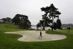 Mark Hubbard hits from a bunker to the 15th green during practice for the PGA Championship golf tournament at TPC Harding Park in San Francisco, Tuesday, Aug. 4, 2020. (AP Photo/Jeff Chiu)