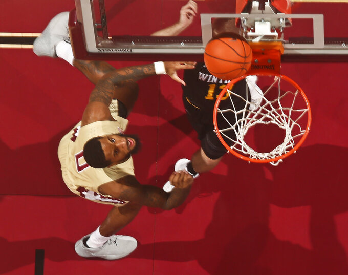 Florida State forward Phil Cofer (0) makes the first basket against Winthrop in the first half of an NCAA college basketball game in Tallahassee, Fla., Tuesday, Jan. 1, 2019. Florida State won 87-76. (AP Photo/Phil Sears)