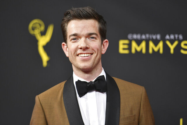 """FILE - John Mulaney arrives at night one of the Creative Arts Emmy Awards on Sept. 14, 2019, in Los Angeles. A file obtained by The Associated Press shows the U.S. Secret Service investigated John Mulaney, but found no wrongdoing in a joke the comedian made on """"Saturday Night Live"""" in February 2020. (Photo by Richard Shotwell/Invision/AP, File)"""