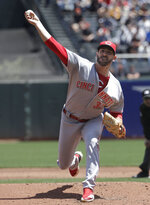 Cincinnati Reds pitcher Matt Harvey throws against the San Francisco Giants during the first inning of a baseball game in San Francisco, Wednesday, May 16, 2018. (AP Photo/Jeff Chiu)