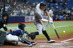 New York Yankees' Aaron Judge strkes out against Tampa Bay Rays starting pitcher Michael Wacha while pinch hitting during the fifth inning of a baseball game Wednesday, July 28, 2021, in St. Petersburg, Fla. (AP Photo/Chris O'Meara)