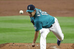 Seattle Mariners starting pitcher Yusei Kikuchi throws against the Colorado Rockies in the third inning of a baseball game Friday, Aug. 7, 2020, in Seattle. (AP Photo/Elaine Thompson)