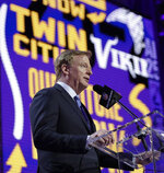 NFL Commissioner Roger Goodell announces that the Minnesota Vikings selected North Carolina State's Garrett Bradbury in the first round at the NFL football draft, Thursday, April 25, 2019, in Nashville, Tenn. (AP Photo/Mark Humphrey)