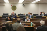The South Carolina Senate Medical Affairs meets on Thursday, Jan. 21, 2021 in Columbia, S.C. The committee approved a stricter ban on abortions. (AP Photo/Jeffrey Collins)