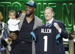 Kentucky linebacker Josh Allen poses with NFL Commissioner Roger Goodell after the Jacksonville Jaguars selected Allen in the first round at the NFL football draft, Thursday, April 25, 2019, in Nashville, Tenn. (AP Photo/Steve Helber)