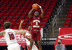 Boston College's Jay Heath (5) shoots during the first half against North Carolina State in an NCAA college basketball game in Raleigh, N.C., Wednesday, Dec. 30, 2020. (Ethan Hyman/The News & Observer via AP, Pool)