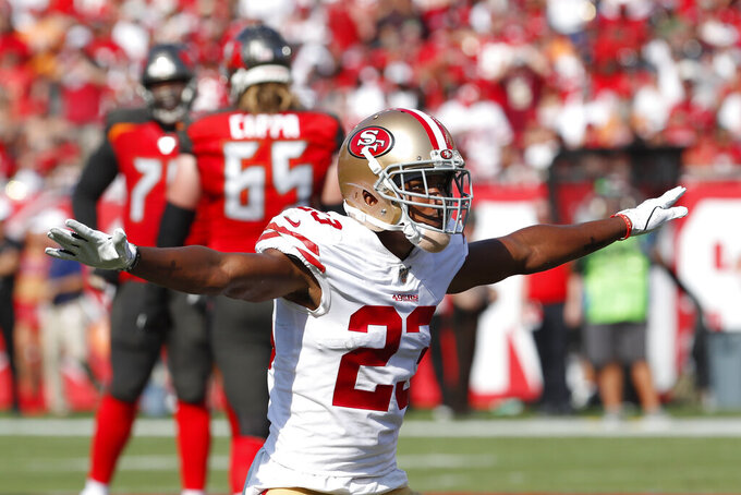 San Francisco 49ers cornerback Ahkello Witherspoon (23) reacts to play against the Tampa Bay Buccaneers during the first half an NFL football game, Sunday, Sept. 8, 2019, in Tampa, Fla. (AP Photo/Mark LoMoglio)