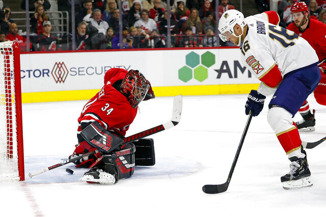 Florida Panthers' Aleksander Barkov (16), of Finland, gets the puck past Carolina Hurricanes goaltender Petr Mrazek (34), of the Czech Republic, but it bounces off the post during the second period of an NHL hockey game in Raleigh, N.C., Saturday, Dec. 21, 2019. (AP Photo/Karl B DeBlaker)