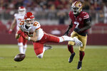 Kansas City Chiefs tight end Noah Gray (83) cannot catch a pass in front of San Francisco 49ers' Jared Mayden during the second half of an NFL preseason football game in Santa Clara, Calif., Saturday, Aug. 14, 2021. (AP Photo/Tony Avelar)