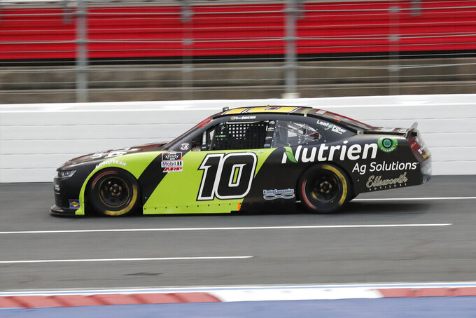 Ross Chastain drives during a NASCAR Xfinity Series auto race at Charlotte Motor Speedway Monday, May 25, 2020, in Concord, N.C. (AP Photo/Gerry Broome)