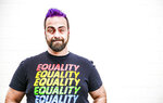 Bryan Bebb, founder of Kalispell-based Glacier Queer Alliance, poses in Kalispell, Mont., on June 19, 2020. (Hunter D'Antuono/Flathead Beacon via AP)