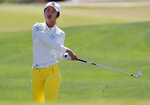 Yu Liu hits from the first fairway during the third round of the Founders Cup LPGA golf tournament, Saturday, March 23, 2019, in Phoenix. (AP Photo/Matt York)