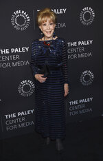 """FILE - Barbara Eden poses at """"The Paley Honors: A Special Tribute to Television's Comedy Legends"""" on Nov. 21, 2019, in Beverly Hills, Calif. Eden turns 90 on Aug. 23. (Photo by Chris Pizzello/Invision/AP, File)"""