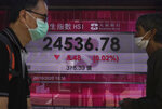 People walk past a bank's electronic board showing the Hong Kong share index Tuesday, Oct. 20, 2020. Asian shares fell moderately Tuesday, echoing Wall Street's decline as hopes faded Washington will come through with badly needed aid for the economy before the U.S. presidential election.  (AP Photo/Vincent Yu)
