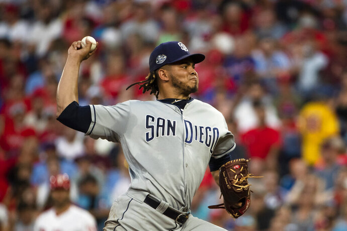 San Diego Padres' Dinelson Lamet pitches during the second inning of a baseball game against the Philadelphia Phillies, Saturday, Aug. 17, 2019, in Philadelphia. (AP Photo/Matt Rourke)